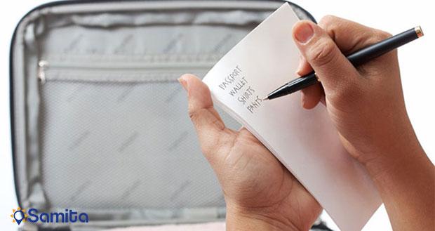 نوشتن لیست ملزومات چمدان